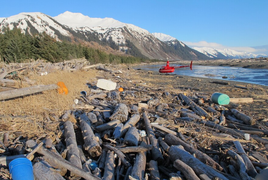 Trash, much of it believed to be debris from the 2011 Japanese tsunami, litters the beach on Montague Island, Alaska, on Jan. 26.