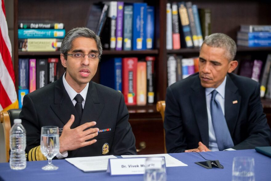 Vivek Murthy, the former U.S. surgeon general, left, participating in a roundtable discussion with former U.S. President Barack Obama in Washington, D.C.