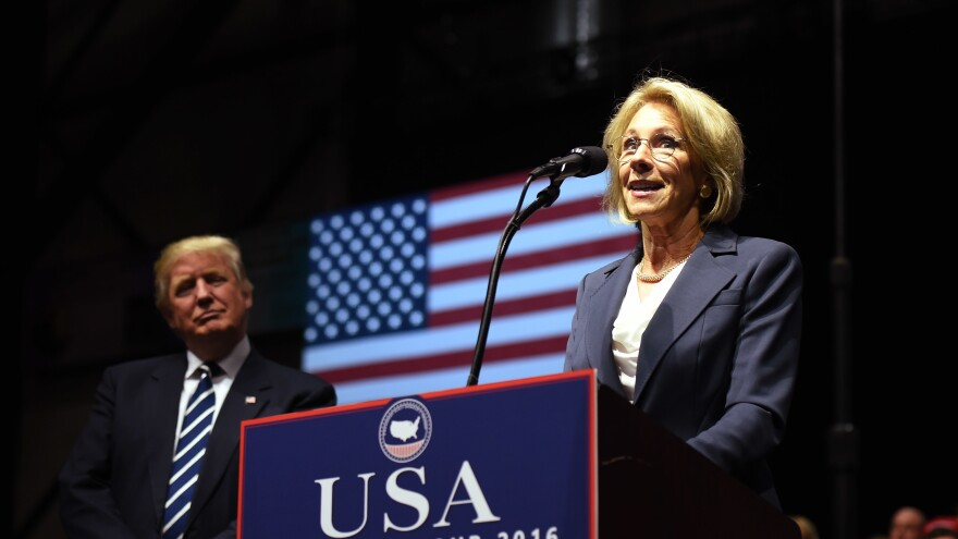 Betsy DeVos, picked by President-elect Donald Trump for education secretary, speaks during the USA Thank You Tour last month in Grand Rapids, Mich.
