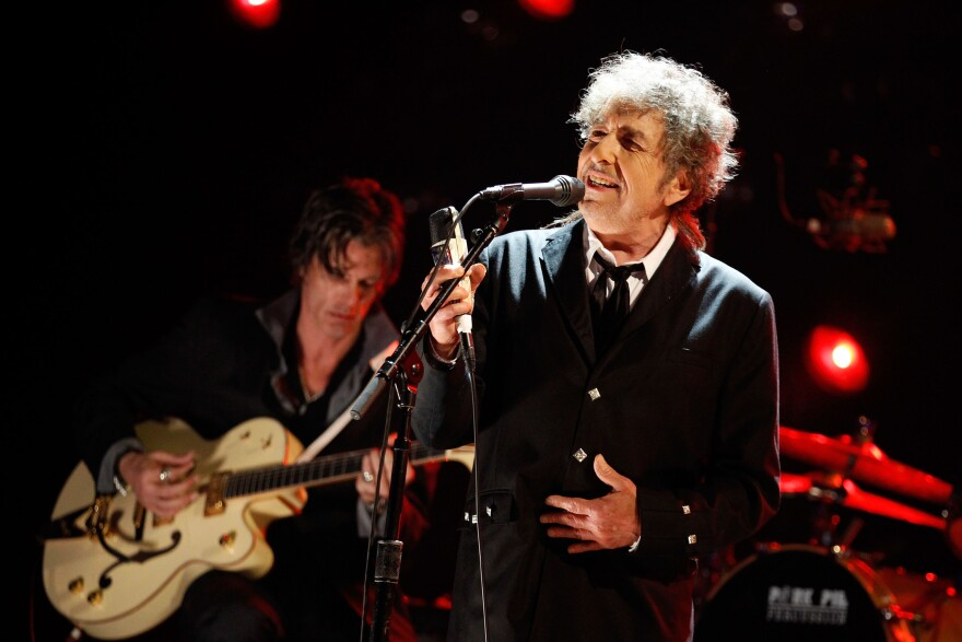 "Bob Dylan performs onstage during the 17th Annual Critics' Choice Movie Awards at The Hollywood Palladium on Jan. 12, 2012, in Los Angeles. In his next album, Dylan will ""uncover"" Frank Sinatra."