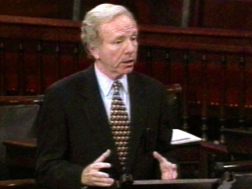 Sen. Joe Lieberman, D-Conn., gives a Senate floor speech criticizing President Clinton in September 1998 for the Lewinsky scandal — while Clinton was overseas, in Ireland.