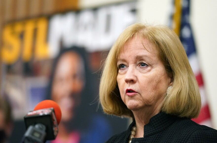 St. Louis Mayor Lyda Krewson announces that the US General Services Administration and US Department of Agriculture will relocate more than 1,000 jobs to downtown St. Louis, on Tuesday, June 23, 2020.