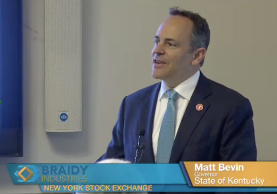 Kentucky Gov. Matt Bevin at the Braidy Industries announcement of its Rusal partnership.
