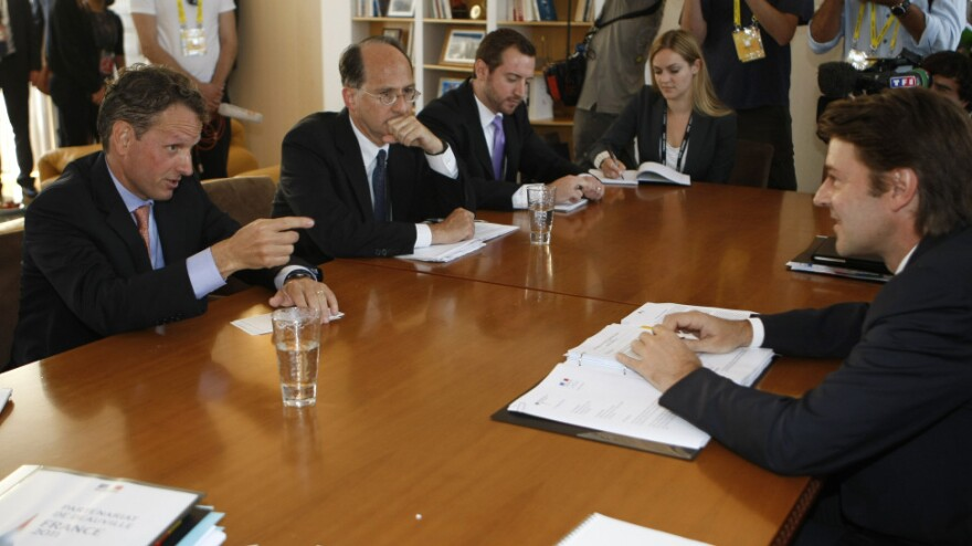 <p>U.S Treasury Secretary Timothy Geithner (left) speaks to French Finance Minister Francois Baroin (right) during talks in Marseille in September. While the U.S. has been concerned about Europe's debt crisis, the Americans have not been major players.</p>