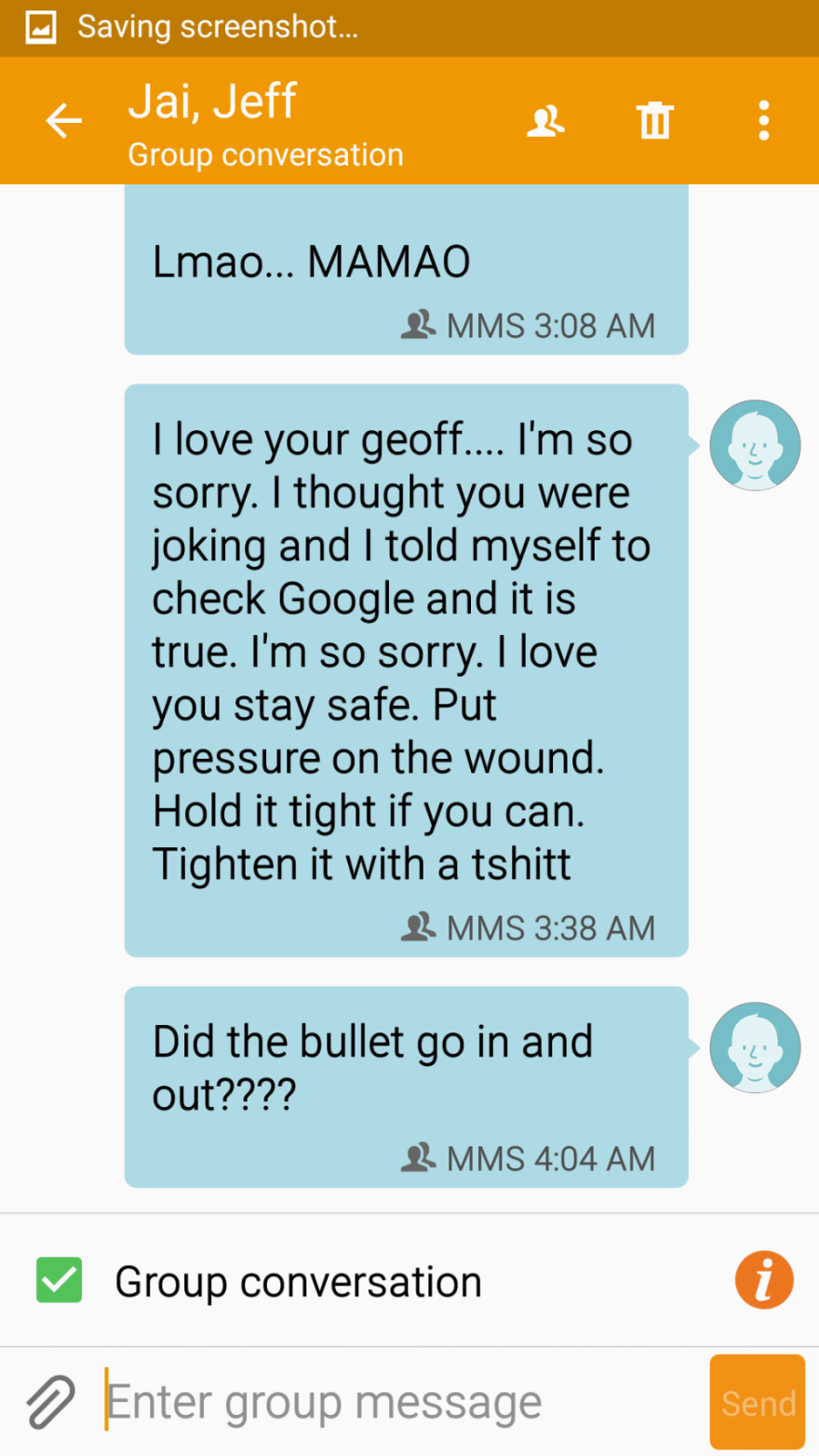 These are the text messages Santos received from his brother Jeff the night of the Pulse shooting.  (Photo credit Santos Rodriguez III)