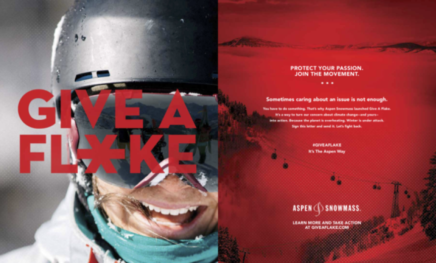 Aspen Skiing Company's magazine ad for the Give A Flake Campaign