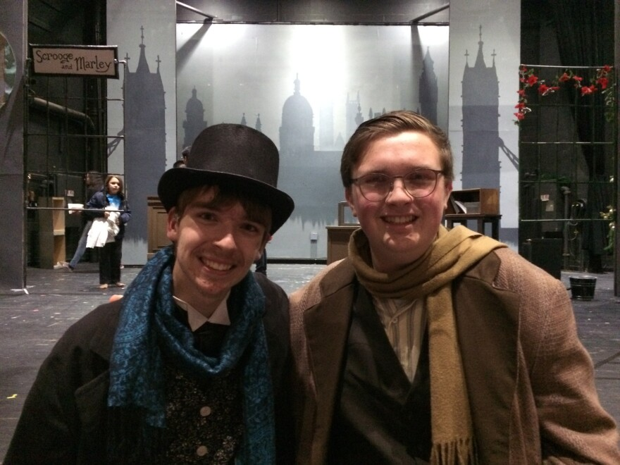 Scrooge and Bob Cratchit: The stars of Branford High's production of A Christmas Carol.