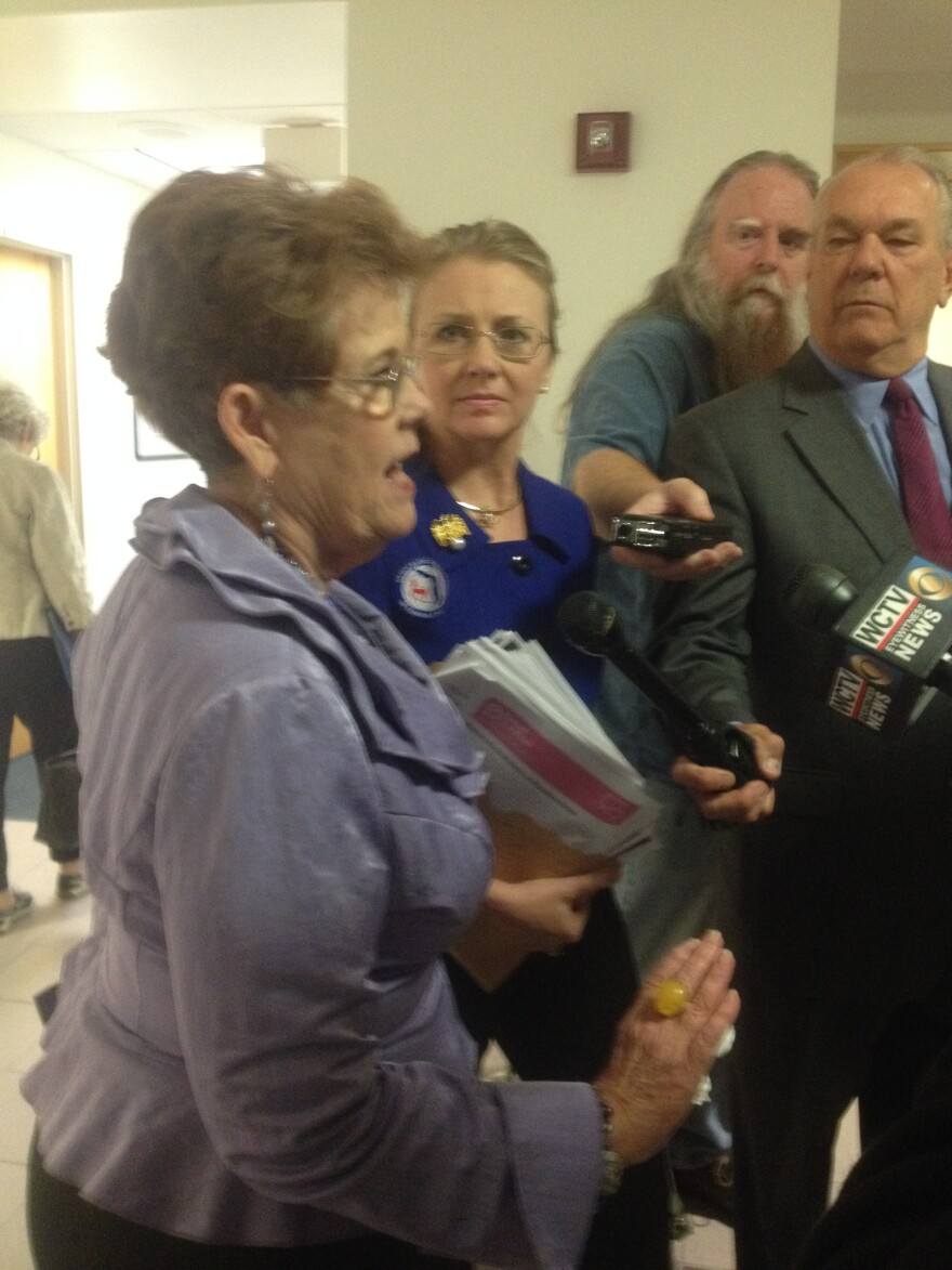 Barbara Devane (left) of Florida NOW and Terri Wonder representing the Manatee County's Democratic Women's Club as well as the Democratic Women's Club of Florida speaking to reporters Tuesday, following a Senate hearing.