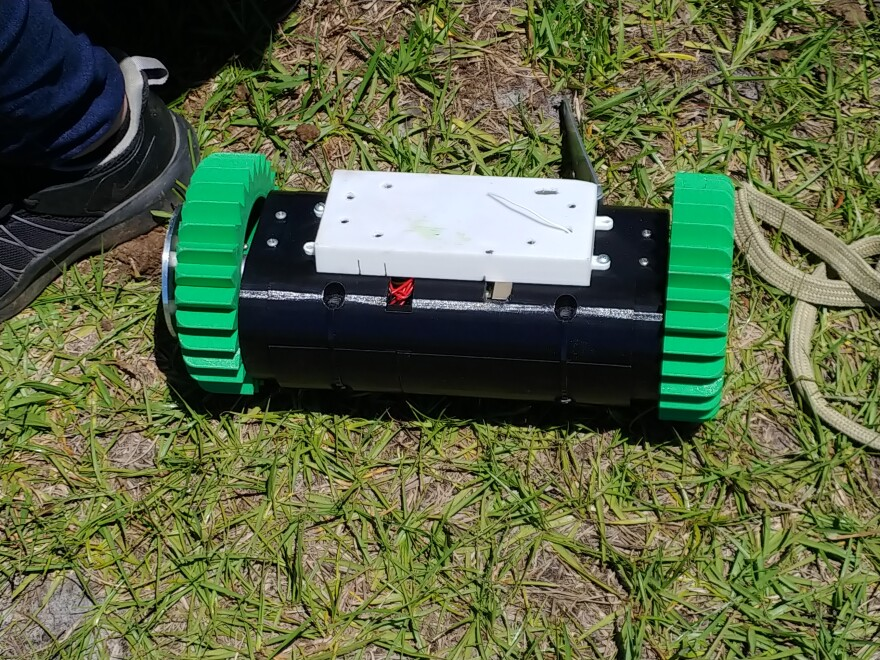 The Nautilus rover, named for an earlier water-related mishap, is a 3D printed plastic device.