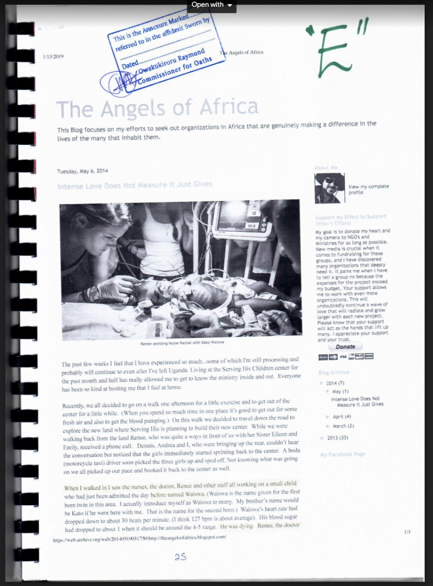 A court filing by Ugandan attorney Primah Kwagala includes excerpts from Renee Bach's blog as well as from a blog posted by a supporter of her charity who had visited and taken photos. This page above includes a photograph of Bach inserting an IV catheter into the vein of a severely malnourished child.