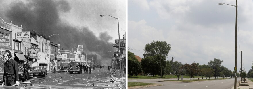 At left, police officers guard businesses on 12th Street on Detroit's west side during the 1967 riots. At right, the same view 50 years later, looking south on Rosa Parks Boulevard, renamed from 12th Street.