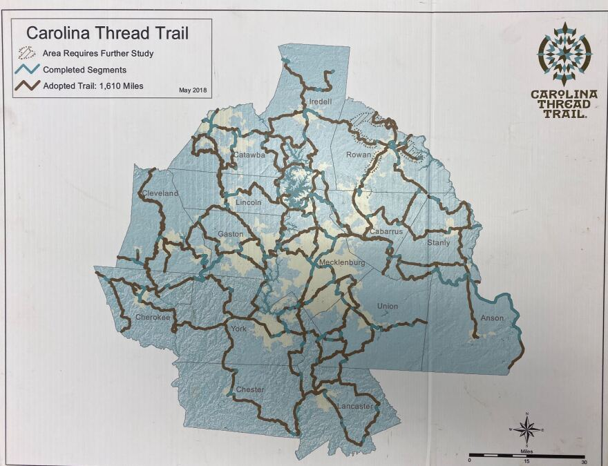 A 2018 map of the Carolina Thread Trail master plan. (Key: Turquoise is open segments, brown is planned segments)