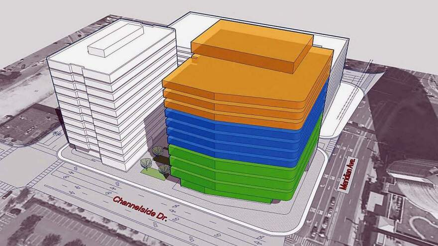 Artist's rendering of the planned 12-story, $157 million USF Medical School building