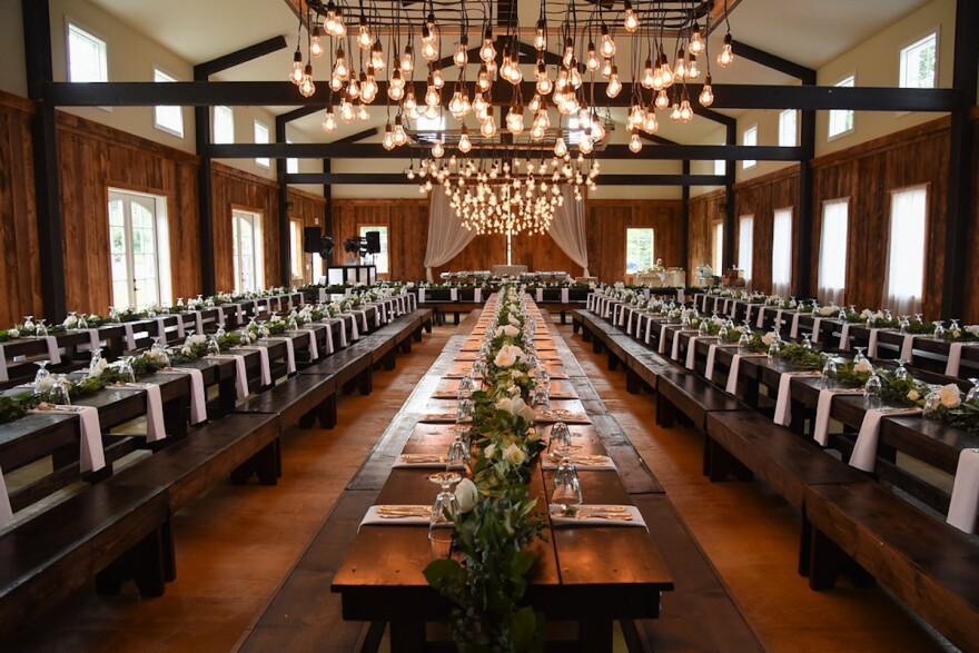 A decorated reception space at Montana Wildflower Weddings north of Red Lodge, Montana.