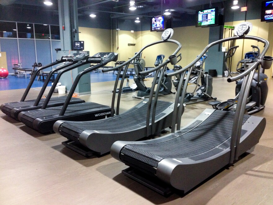 These treadmills, like other equipment at Downsize Fitness, are designed for larger people.