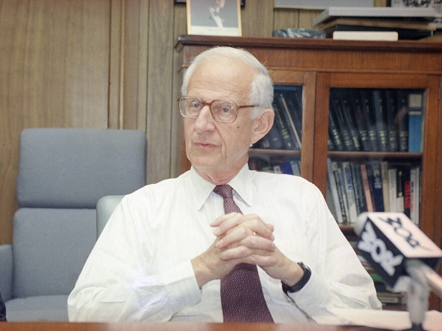 "Manhattan District Attorney Robert Morgenthau at a news conference in 1993. The patrician lawman, who a former aide said spent four decades ""making mischief for people who engaged in bad conduct,"" died Sunday."