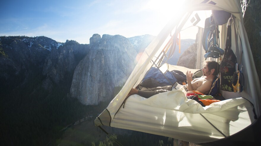 Free climber Kevin Jorgeson rests in a portaledge during his ascent of El Capitan's Dawn Wall in 2015.