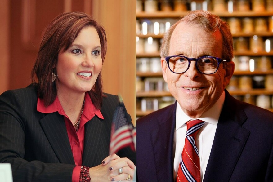 A photo composite of Ohio gubernatioral candidates Mary Taylor (left) and Mike DeWine (right.)