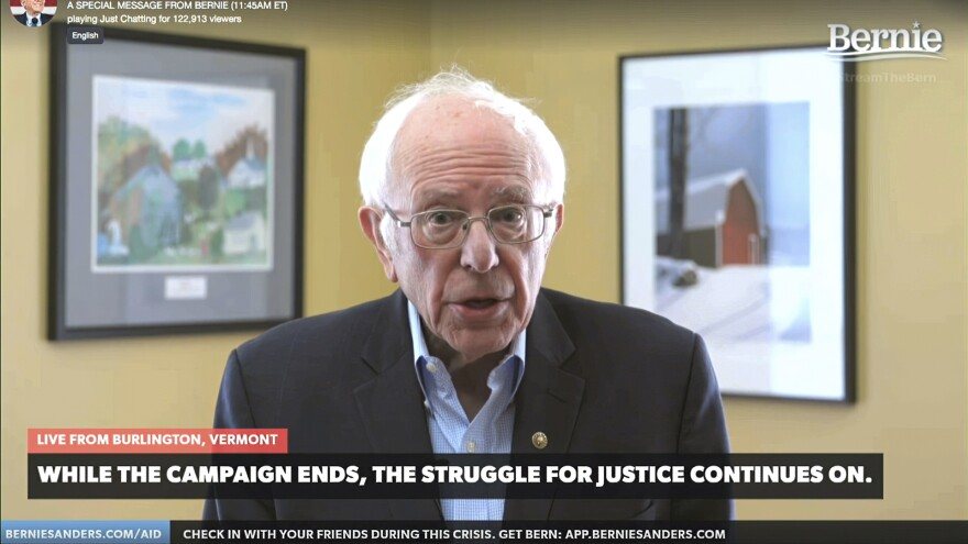 Sanders announces he is ending his presidential campaign on Wednesday, via a livestream from his Vermont home. The coronavirus pandemic completely upended traditional campaigning in the last weeks of Sanders' bid.
