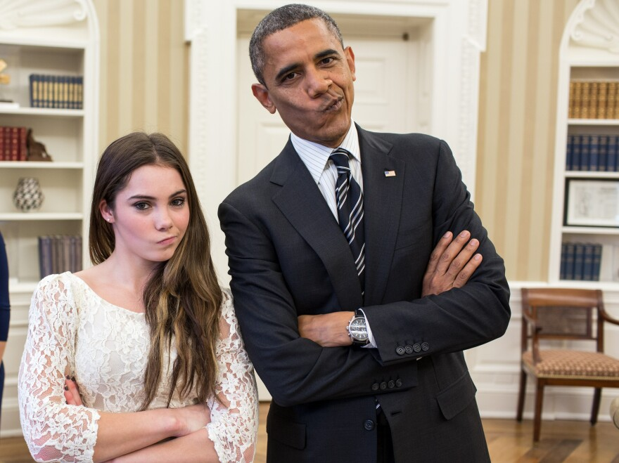 """President Obama and Olympic gymnast McKayla Maroney strike her """"McKayla is not impressed"""" pose at the White House in November."""