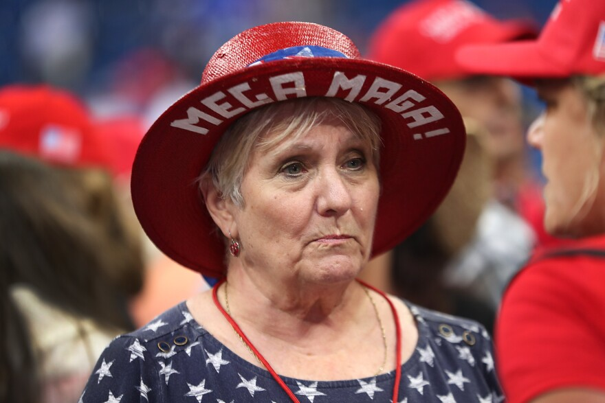 Georgia Williams waits for the arrival of Trump at his Orlando rally. Those who got tickets to the rally had to give the Trump campaign email addresses and phone numbers so that the campaign could stay in touch with them.