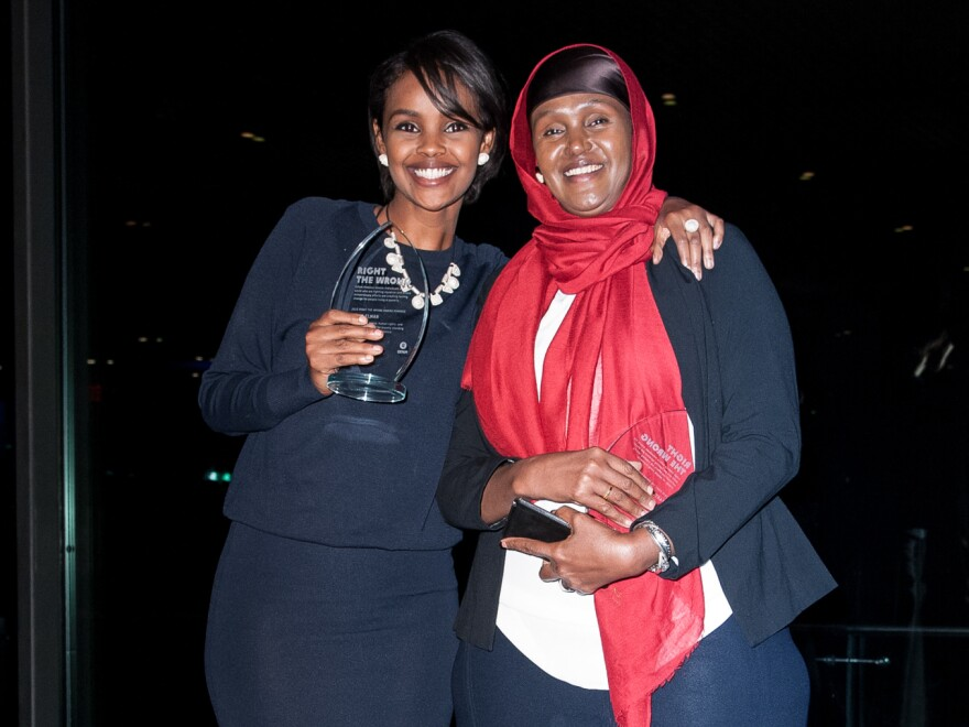Fartuun Adan (right) and Ilwad Elman, the mother and daughter named winners of this year's $1 million Aurora Prize for their efforts to help former child soldiers and others in their native Somalia.