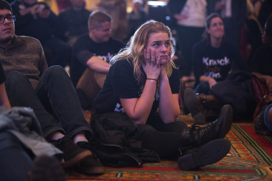 Daria Locher watches election results come in at U.S. Sen. Claire McCaskill's watch party at the Marriott Grand on Washington.