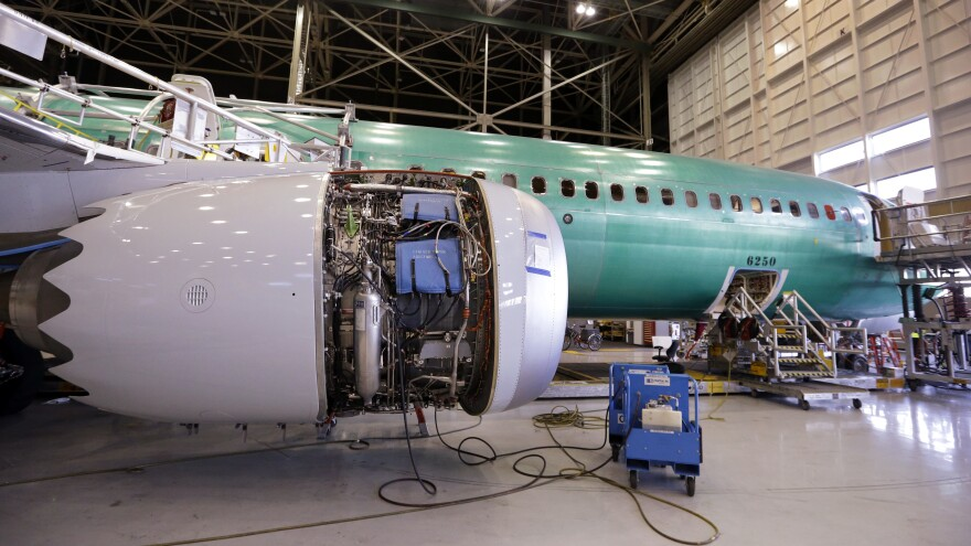 A Boeing 737 Max 9 sits at the front of the assembly line at the company's airplane production facility in Renton, Wash., in February 2017.