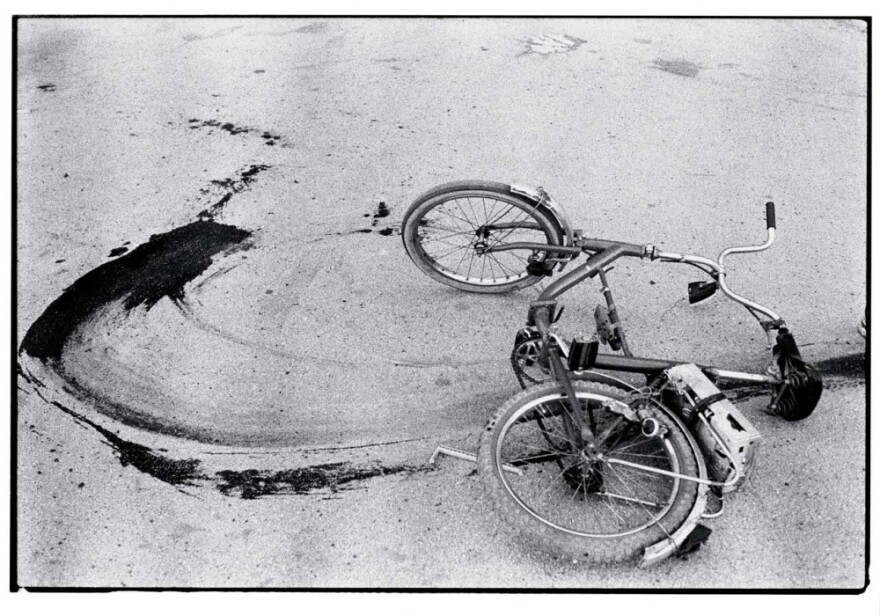 Sarajevo: The fallen bicycle of a teenage boy killed by a sniper in 1994.