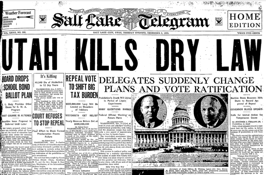 Digitized copy of the front page of the Salt Lake Telegram on Dec. 5, 1933.