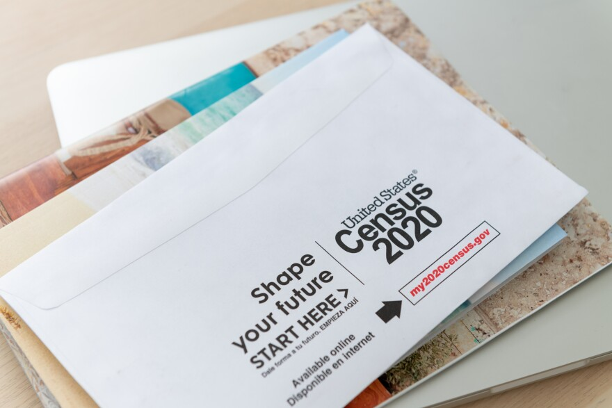 a photo of a census envelope