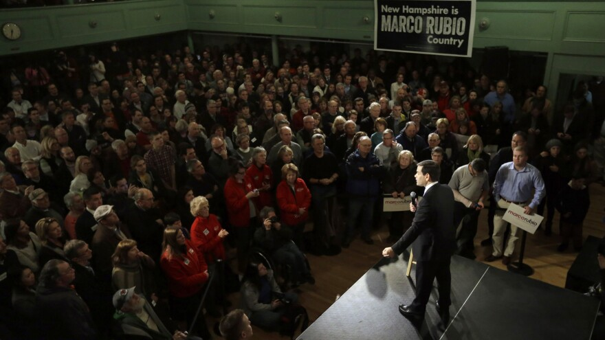 Republican presidential candidate Marco Rubio speaks to a capacity crowd during a campaign event in Exeter, N.H.