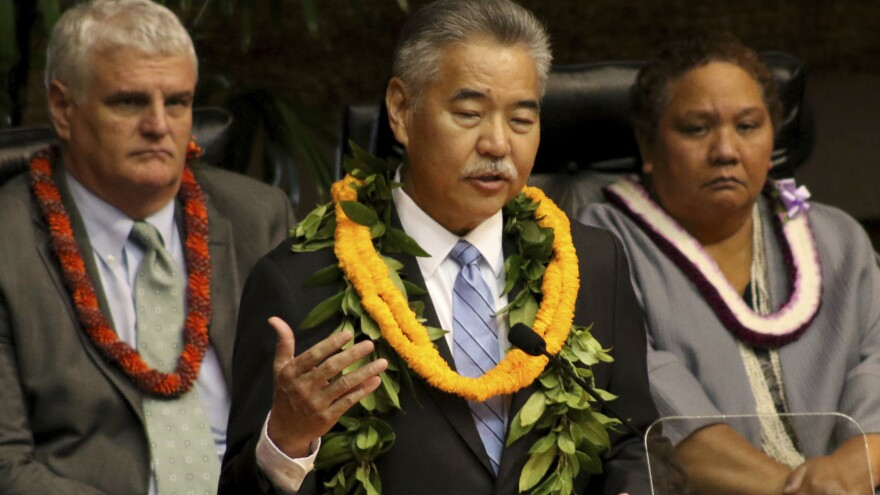 Hawaii Gov. David Ige delivers his annual State of the State address in Honolulu on Monday. During the address, Ige didn't mention a missile alert mistakenly sent to residents and visitors statewide — but afterward, he acknowledged to reporters the difficulties he'd had with Twitter.