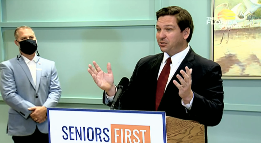 Gov. Ron DeSantis announced the drive-thru site in The Villages would become permanent. Image: Video by The Florida Channel