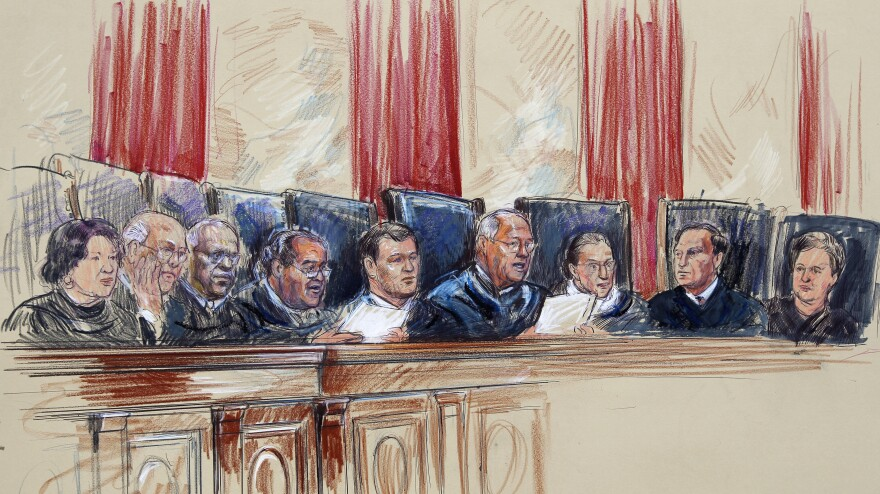 This artist rendering shows Supreme Court Justices (from left) Sonia Sotomayor, Stephen Breyer, Clarence Thomas, Antonin Scalia, John Roberts, Anthony Kennedy, Ruth Bader Ginsburg, Samuel Alito and Elena Kagan in 2012.