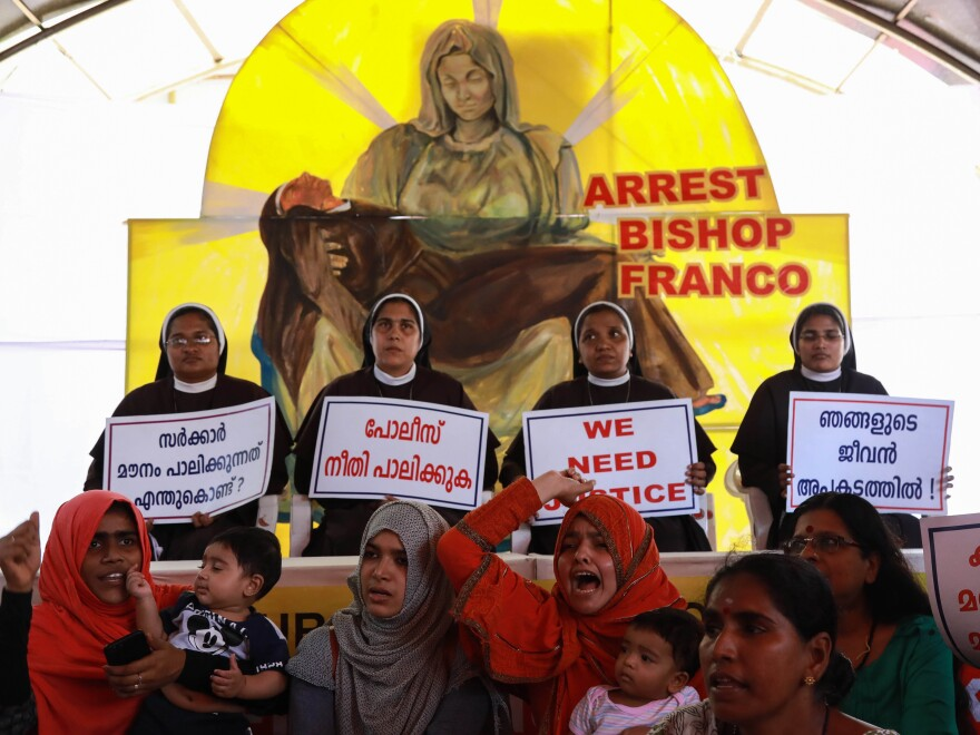 Nuns and supporters demand the arrest of Bishop Franco Mulakkal, outside the High Court in Kochi in the southern Indian state of Kerala in September.