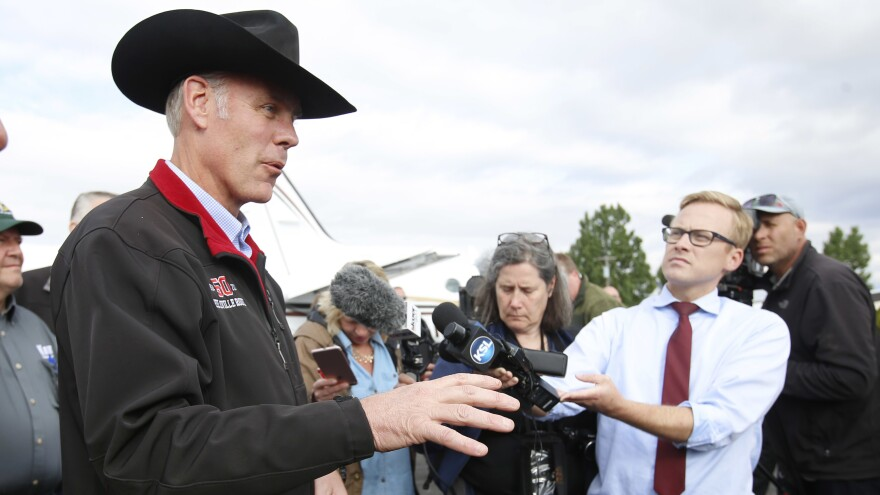 Secretary of the Interior Ryan Zinke talks to reporters in Kanab, Utah, after visiting the state to talk with officials about the status of their monuments.