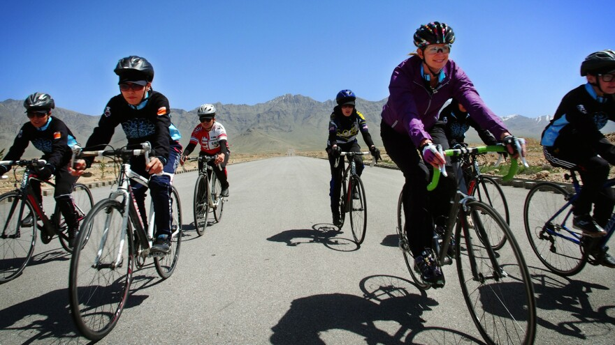The carbon-fiber racing bikes the Afghan women ride are supplied by Mountain 2 Mountain, a nonprofit founded by Shannon Galpin (second from right), who trained with them last month.