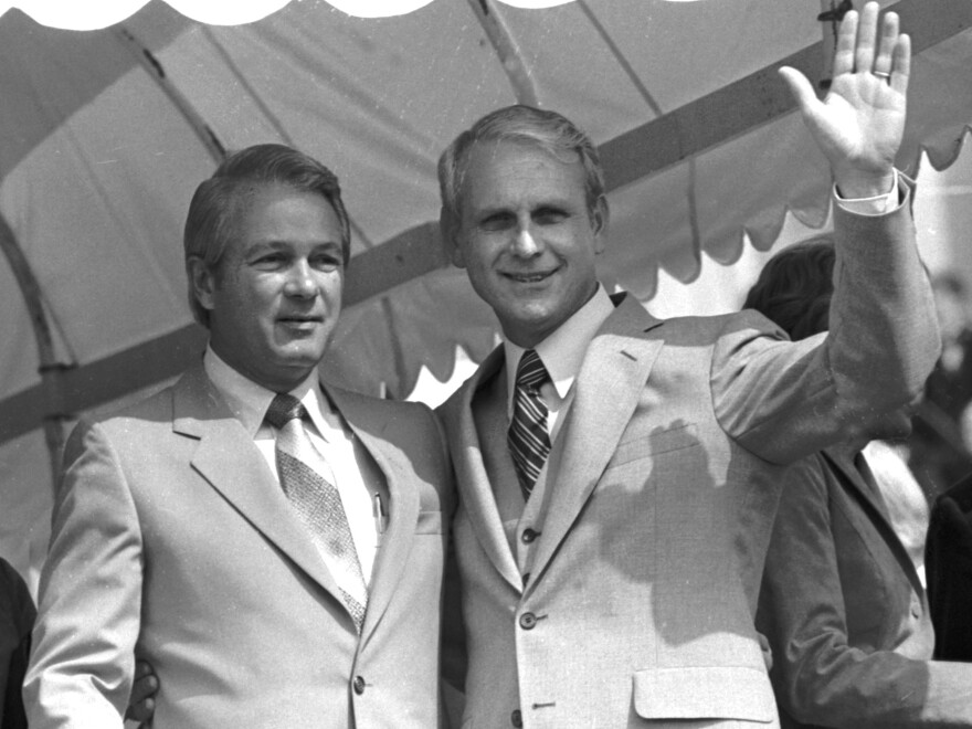Outgoing Democratic Gov. Edwin Edwards (left) outside the Capitol in Baton Rouge, La., in 1980 during inaugural ceremonies for the newly elected Republican, Dave Treen (right). Treen was Louisiana's first Republican governor in more than 100 years.
