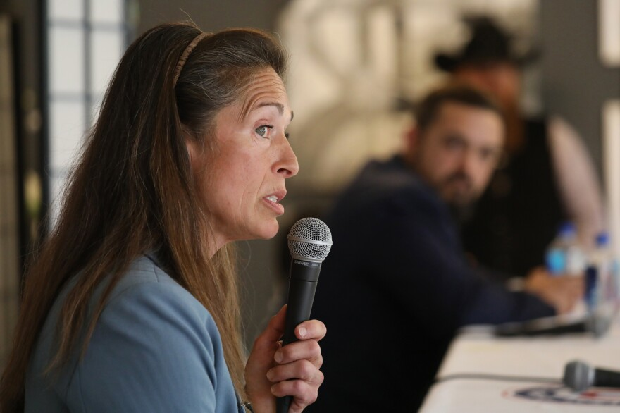 Idaho State Sen. Michelle Stennett, a Democrat, answers a question during a debate with her Republican opponent, Eric Parker, on Sept. 17.