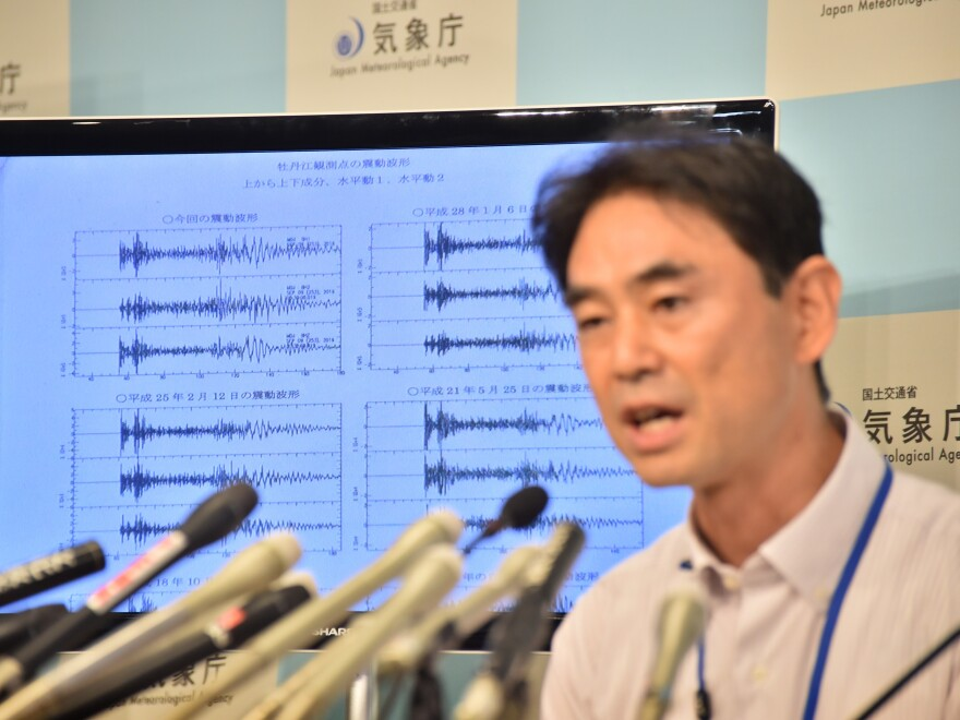 Japan meteorological agency officer Gen Aoki displays seismic readings that are apparently a result of a nuclear weapons test in North Korea on Friday morning. North Korea later confirmed it had conducted its fifth nuclear test.