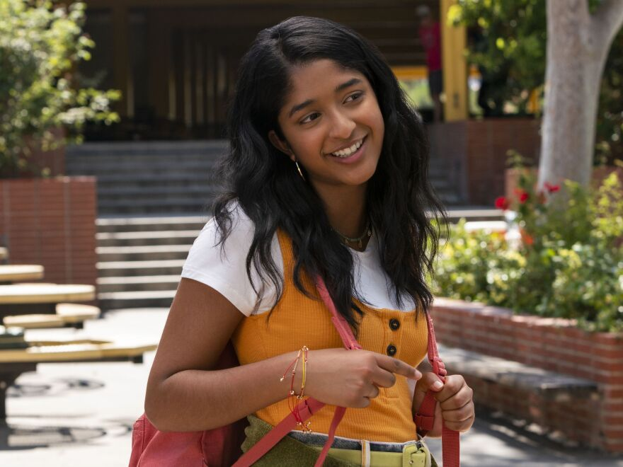 Devi (Maitreyi Ramakrishnan) becomes temporarily paralyzed after the sudden death of her father in <em>Never Have I Ever. </em>