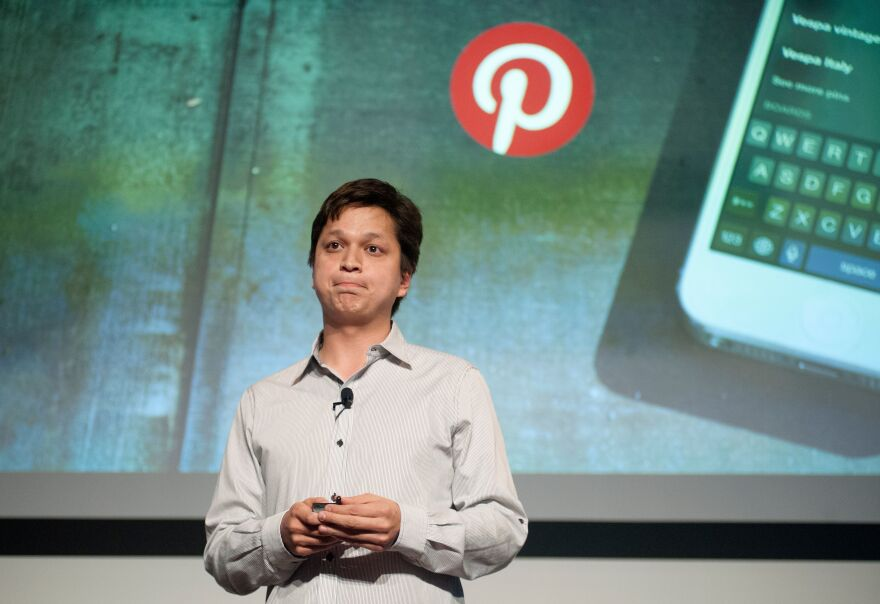 Pinterest CEO Ben Silbermann addresses a Pinterest media event at the company's corporate headquarters in San Francisco, California, on April 24, 2014.