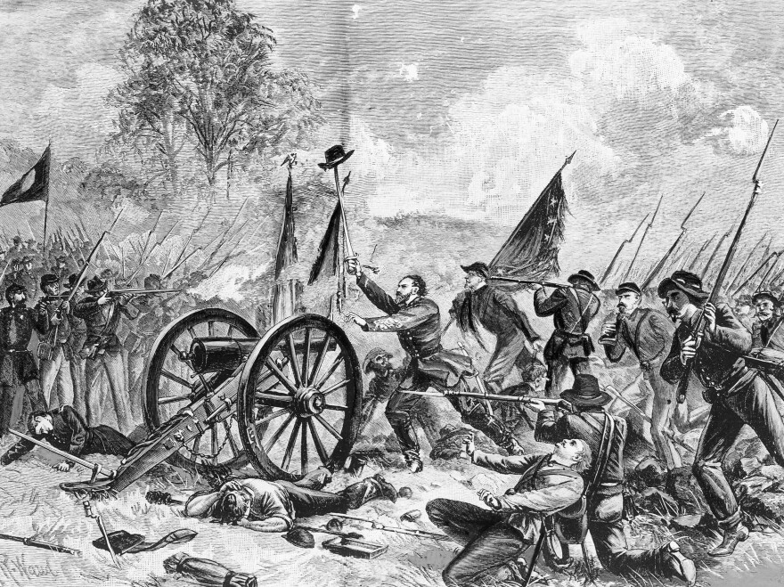Confederate soldiers are shown during the Battle of Gettysburg, July 3, 1863, as Gen. George E. Pickett orders his 15,000 men to charge.