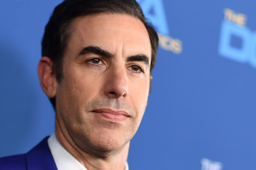 Sacha Baron Cohen (shown here in 2019) has been nominated for two Golden Globe awards for acting in and producing <em>Borat Subsequent Moviefilm,</em> and another Golden Globe for his supporting actor role in <em>The Trial of the Chicago 7.</em>
