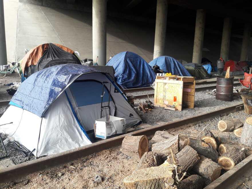 A photo of homeless encampments.