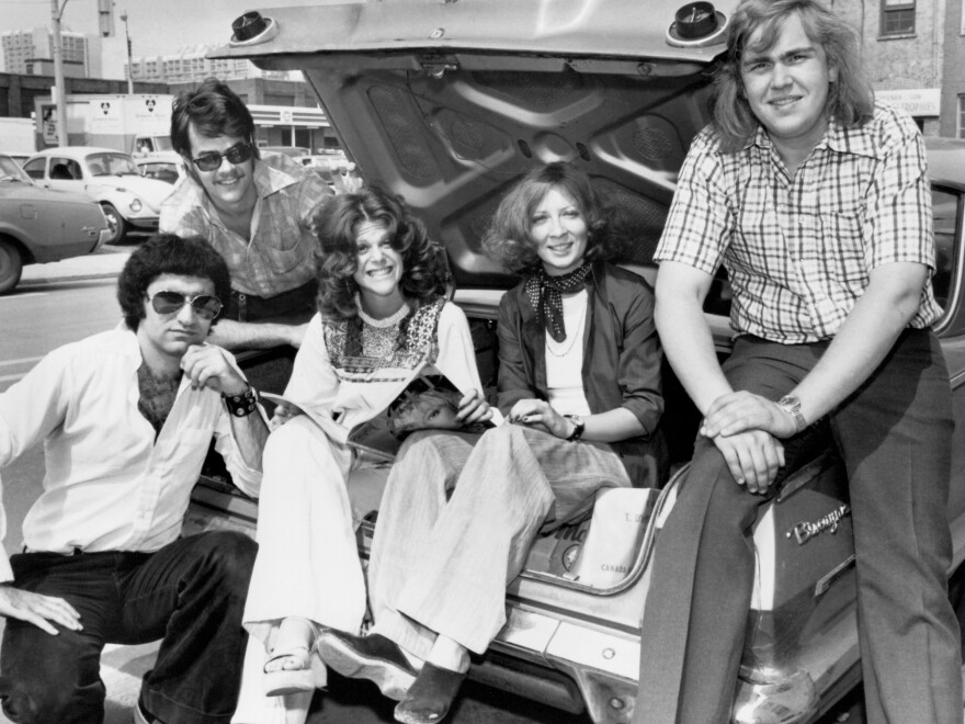 Levy (left) with some of the noted comedians that were part of Second City in Toronto: (from left, after Levy) Dan Aykroyd, Gilda Radner, Rosemary Radcliffe and John Candy.