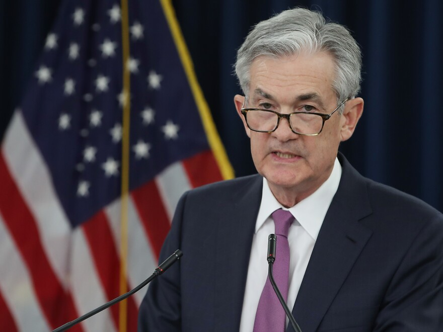 Federal Reserve Chairman Jerome Powell speaks during a news conference on May 1 in Washington, D.C. He is testifying before Congress this week about economic challenges.