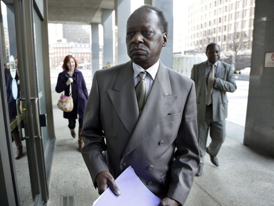 Onyango Obama, President Obama's Kenyan-born uncle, arrives at U.S. Immigration Court in Boston on Tuesday for a deportation hearing.