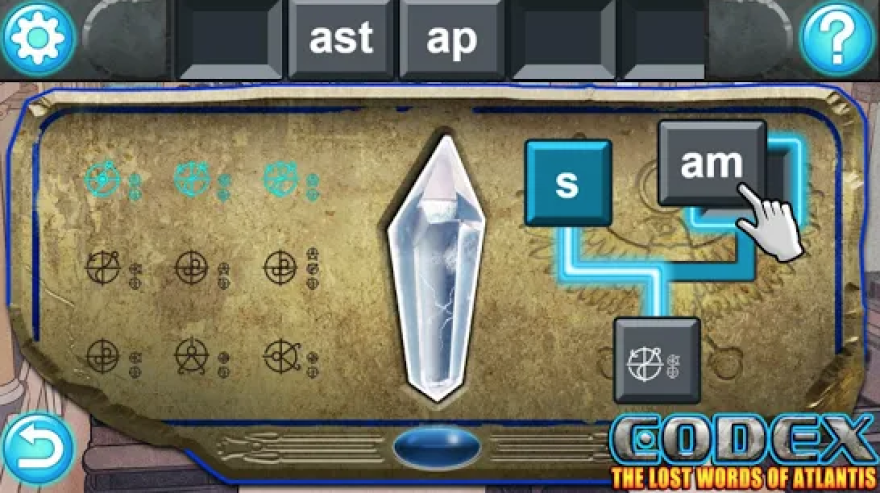 A screenshot from the literacy game Codex: The Lost Words of Atlantis, available in the Google Play store.